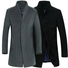 Mens Woolen Coat Long Jacket business Outerwear Overcoat prom Black Grey trench