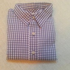 New Pottery Barn Kids boys blue gingham dress ss shirt button size 12 18 24 36 M