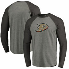 Anaheim Ducks Gray/Black Distressed Team Tri-Blend Raglan Long Sleeve T-Shirt