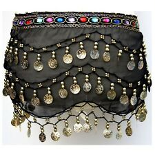 Belly Dance Hip Scarf 3 Rows Coin Belt Skirt Wrap Gold/Silver Coins ALL COLORS