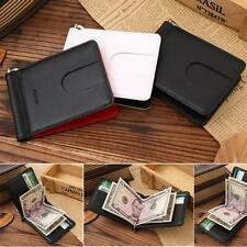ID Credit Business Men's Slim Real Leather Wallet Card Holder Money Clip