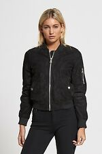 Ladies Black Faux Suede Zipped Bomber Jacket On Trend Fashion