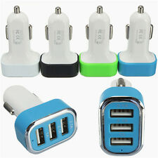 3 Ports USB Car Auto Charger Adapter For Mobile Phone black color