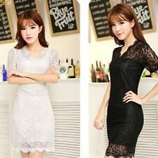 Lady Women's Sexy V-neck Short Sleeve Lace Stretch Casual Party Mini Dress WS