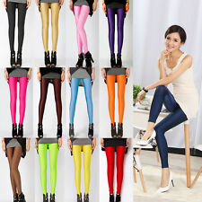 Women Neon Leggings Candy Shiny Bright Fluorescent Glow Stretch Pants Trousers