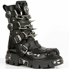 NEWROCK M727 S1 With Patent Flames Skull Chains and Spikes SPECIAL STYLE BOOTS