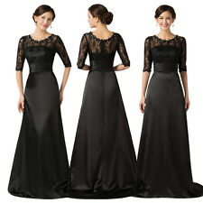 Women Satin Lace Long Dress Cocktail Party Evening Dress Formal Prom Ball Gown