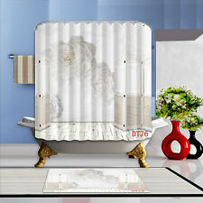 Home decoration Bathroom Waterproof Polyester Shower Curtain & Flannel Bath Mat