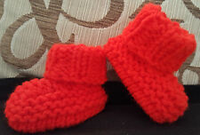 BABY BOYS/ GIRLS  RED HAND KNITTED ARAN BOOTS / BOOTIES- EB-12-18 MONTHS