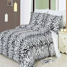 Full/Queen 4PC Soft Zebra 300TC Cotton 3PC Duvet Cover Set + 1PC White Comforter