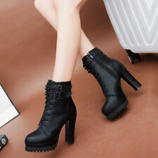 Women High Chunky Heels Pumps Buckle Ankle Boots Martin Booties Platform Shoes