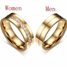 Love Couples Cubic Zirconia Wedding Band Ring 18K Gold Plated Stainless Steel