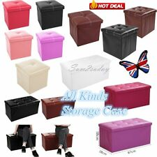 Faux Leather Storage Stool Ottoman Folding Pouffe Foot Rest Seat Chest Box Store