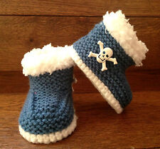 Baby Goth Emo Punk Hand Knitted Crochet Booties Boots Skull Crossbones 0-12M