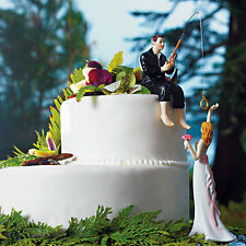 Hooked on Love Fishing Groom Bride Porcelain Wedding Cake Top Topper