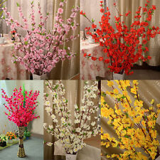 Artificial Cherry Spring Plum Peach Blossom Branch Silk Flower Tree Decor PENG