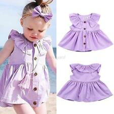 0-24M Infant Baby Kid Girl Spring Summer Sleeveless Button Princess Party Dress