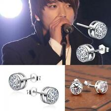 Round Unisex Women Men Clear Silver Plated Zircon Crystal Ear Studs Earrings