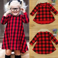 Toddler Baby Girls Kids Autumn Clothes Long Sleeve School Plaid Swing Dress Tops