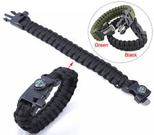 Outdoor 5-in-1 Survival Paracord Bracelet Rope Flint Self-rescue Whistle Compass