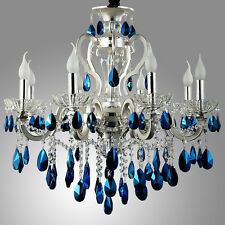 Modern Luxury Silver Finished Blue Crystal Chandelier Ceiling Lamp Candle Lights