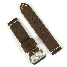 24mm Handsewn Italian Leather Watch Band Strap in Saddle Brown w/Ivory-stitch