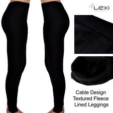 New Ladies Black Thermal Fleece Lined Cable Thick Warm Winter Leggings Footless