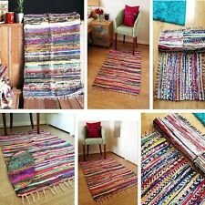 FAIR TRADE RAG RUG HAND LOOMED INDIAN SHABBY CHIC RECYCLED CHINDI MAT MULTICOLOR