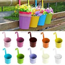 Cute Metal Flower Pot Hanging Vase Bucket Garden Planter Home Decor 10 Colors