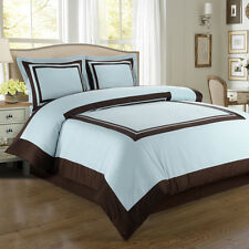 8PC Hotel Blue/Chocolate Bed in a Bag Set- Duvet Set-Sheets & White Comforter