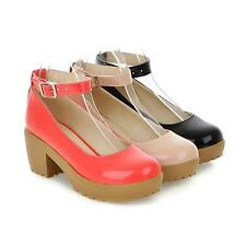 Mary Janes platform Ladies wedge Heel Strappy Party Patent Leather Women's shoes