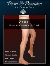Men's full lenth pantyhose with trunk sheath sheer glossy nylons tights hosiery