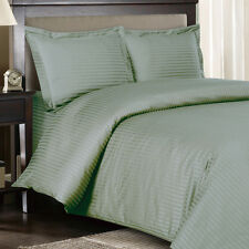 8PC Striped 300TC Sage Bed in a Bag Set- Duvet Set-Sheets & White Comforter