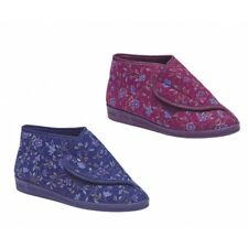 Comfylux ANDREA Ladies Cosy Nylon Adjustable Touch Fastening Floral Slippers