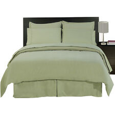 8PC Microfiber Sage Bed in a Bag Set- Duvet Set-Sheets & White Comforter