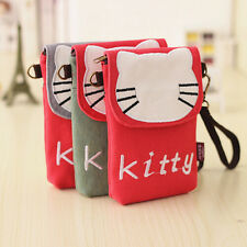 Hello Kitty Mini Canvas Shoulder Wallet Purse Cell Phone Mobile Pouch Bag Cover