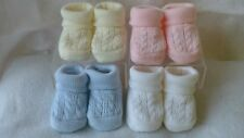 Knitted cable design baby bootees boy girl blue pink PACK OF 2 PAIRS newborn