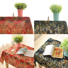 Red & Blue Flower Tablecloths Cover For Banquet Wedding Party Home Decor Square