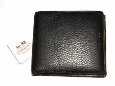 Coach Double Bifold Wallet Pebbled Black Leather MCS Textured 74323