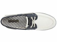 Sperry Top-Sider Women Bahama  2-Eye Boat Shoes Canvas Sneaker White/Navy Size 9