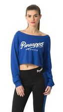PINEAPPLE DANCEWEAR Womens Dance Crop Long Sleeved Off Shoulder Top Blue