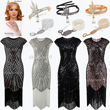 1920s Flapper Dress Gatsby Sequin Beaded Vintage Party Costume Plus Size 4 12 20