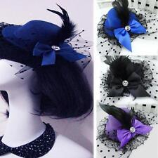 Wear Party Bowknot Fascinator Hair Clip Feather Hat Lace