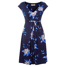 Ex Monsoon Rhona Blue Floral Print Jersey Tea Dress with Waist Tie Belt