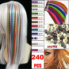 Grizzly Rainbow Feather Hair Extensions Wits Free Beads Women Girl Party Make-up