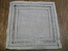 "Vintage Antique Hand Drawn Linen Doily  7"" X 7"" 19320's 1930's  Lovely"
