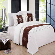 8PC Eleanor Embroidered Bed in a Bag Set- Duvet Set-Sheets & White Comforter