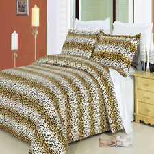 8PC Luxury Cheetah Printed Bed in a Bag Set- Duvet Set-Sheets & White Comforter