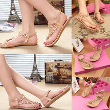 Lady Fashion Casual Bohemia Style Flower Flat Sandals Beach Shoes Thong Slippers