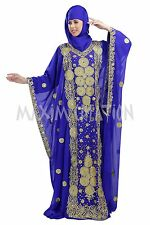 DUBAI TAKSHITA KAFTAN GEORGETTE HAND EMBROIDERY JILBAB ARABIAN DRESS 5774